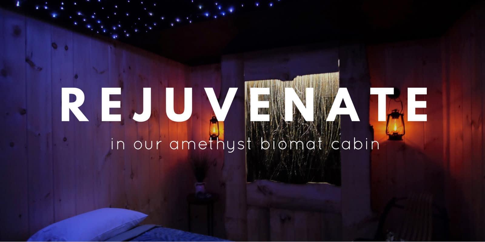 a rejuvenating amethyst biomat cabin